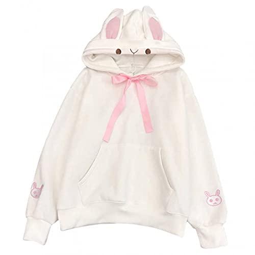 Pull à capuche pour femme et fille avec oreilles de lapin mignonnes - Automne hiver - Couleur unie - Manches longues - Col rond - Uni - Avec poche - Pour fille, Blanc., L