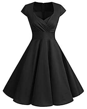 Bbonlinedress Women Short 1950s Retro Vintage Cocktail Party Swing Dresses Black XL