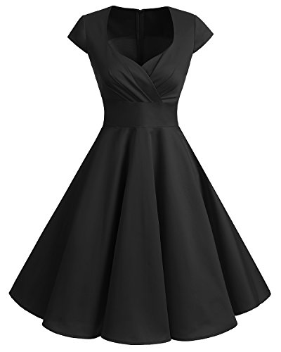 bbonlinedress 1950er Vintage Retro Cocktailkleid Rockabilly V-Ausschnitt Faltenrock Black 2XL