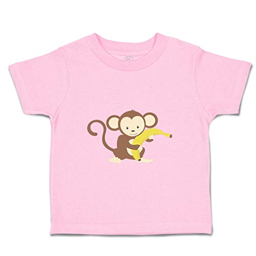 Custom Baby & Toddler T-Shirt Monkey Banana Cotton Boy & Girl Clothes Funny Graphic Tee Soft Pink Design Only 3T
