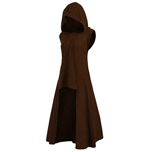 LOPILY Umhang Kleid mit Kapuze Vokuhila Cape Vampir Kostüm Halloween Erwachsener Damen Cosplay Umhang Prop für Halloween Masquerade Mittelalter Kleidung Karneval Kostüme (Khaki, 44)