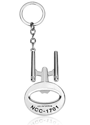 WOO LANDO Raumschiff Enterprise Flaschenöffner aus Metall mit Schlüsselanhänger - Geschenk für Fans der Star Trek Serie (60x36mm) (Silber)