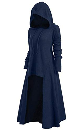 Soluo Womens Renaissance Costumes Hoodies Long Sleeve High Low Medieval Dress Casual Robe Vintage Pullover Cloak - - X-Large