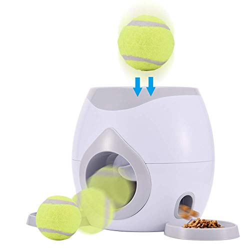 PETAMANIM Automático Pelota para Mascotas Juguete Interactivo para Perros Perro de Juguete Perro Lanzador de Pelotas de Tenis Máquina de recompensa de Alimentos Comedero Lento Puzzle de Juguete para