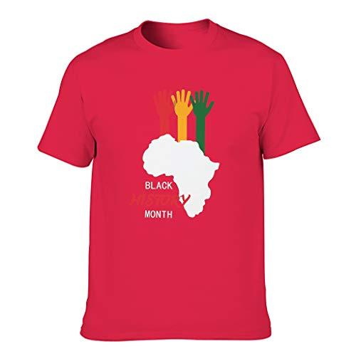 Camiseta de algodón para hombre con cuello redondo y diseño informal del mes de la historia. Red1 XXXL