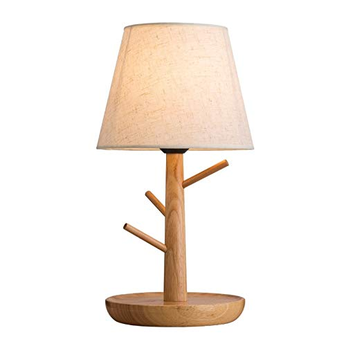 YAOLUU Lámpara de Mesa Rústica de Granja Nordic lámpara de Mesa Creativa Dormitorio lámpara de cabecera Lámpara de Madera Natural Cuerpo Lectura LED luz de la Noche Lámparas de Mesa