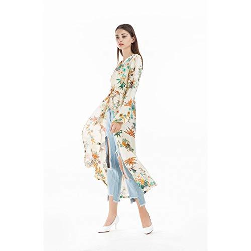 Cnsdy Damesshirt Boheemse stijl Retro Kimono Vest Lange Print Kant Top