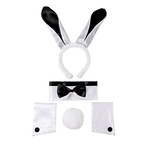 Spooktacular Creations - Juego de 5 piezas de disfraz de conejito sexy que incluye diadema de orejas de conejo, pajarita, cola de conejito y puños de brazo para Halloween, cosplay