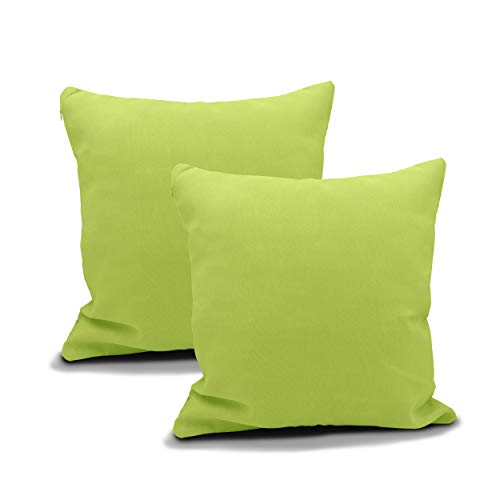 Meishida, Set für Kissen mit 2 Bezügen Super Canvas für Sofa und Bett mit verstecktem Reißverschluss (pistaziengrün, 45 x 45 cm)