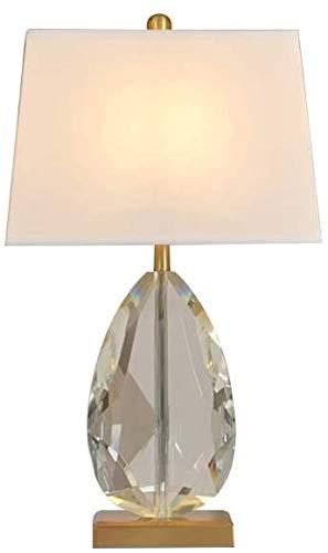 Lámpara de mesa de cristal, proceso de corte industrial lámpara de mesa de cristal accesorio conciso tela blanca sombra led escritorio lámpara metal base luz de noche apto para oficina/estudio YZPLD
