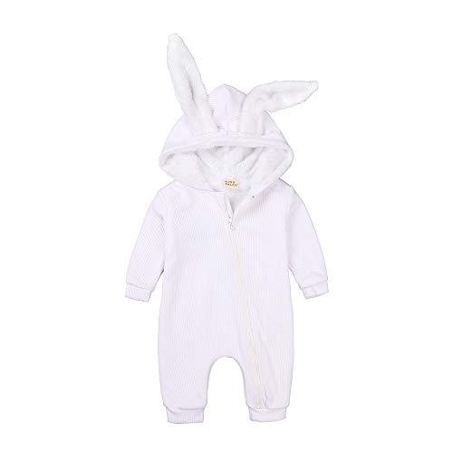 Kids Tales Baby-Strampler für Neugeborene, niedliche Kaninchenohren, mit Reißverschluss Gr. 74, Weiß dick