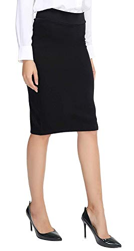 Urban CoCo Women's Elastic Waist Stretch Bodycon Midi Pencil Skirt (M, Black)