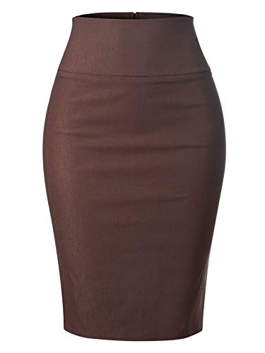 MixMatchy Women's Stretch Office Knee Length Midi Pencil Skirt Brown XL