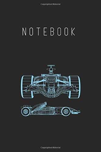 Notebook: Formula Racing Car 3D Silhouette Mechanical Engineering Draw Notebook College Ruled 6in x 9in x 115 Pages White Paper with Black Cover A Perfect Gift for Baby or Friends