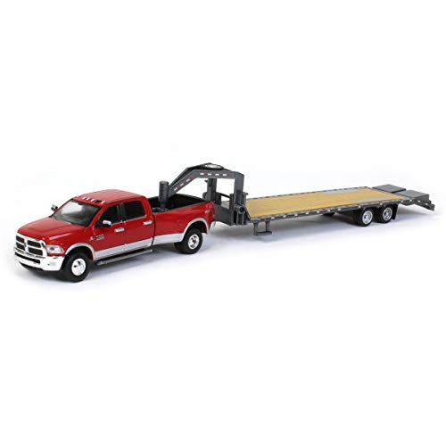 TRUCK 1/64 2018 Ram 3500 Dually, Red & Gray Gooseneck Trailer