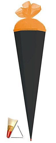 alles-meine.de GmbH Schultüte - Rohling - schwarz - Abschluß orange - 85 cm - mit Holzspitze / Tüllabschluß - Zuckertüte Roth - zum Basteln, Bemalen und Bekleben Bastelschultüte