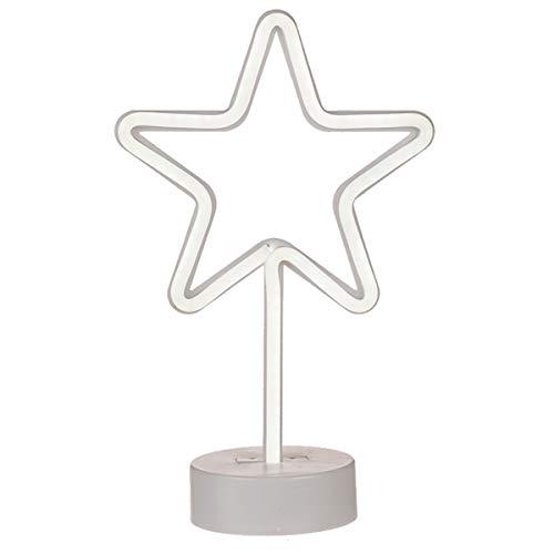 Weiße Kunststoff-Neon-Leuchte, Stern auf Standfuss