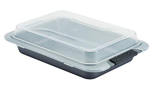 Anolon Advanced Nonstick Baking Pan With Lid / Nonstick Cake Pan With Lid, Rectangle - 9 Inch x 13 Inch, Gray