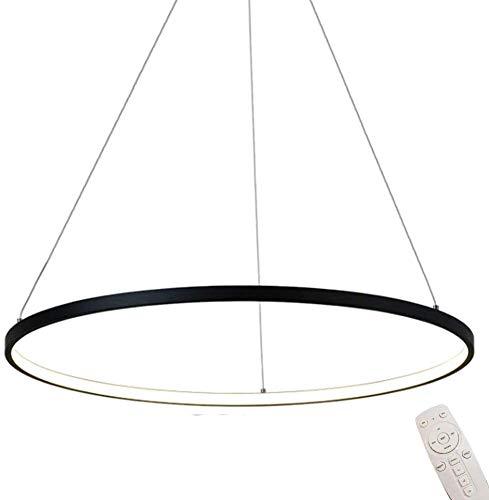 YSNJG Modern Rund LED-Hängeleuchte Schwarz Ring Pendellampe Dimmbar Fernsteuerung Höhen-Verstellbar Pendelleuchte Für Schlafzimmerbeleuchtung,Φ80cm [Energieklasse A]