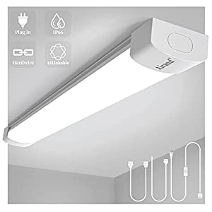 Ceiling Lights LED Plug in Airand 2ft Flushmount LED Tube Light 5000K Linkable Garage Light Fixture 18W Wraparound Ceiling Lamp Utility Shop Light Corded Under Cabinet Light with ON/Off Switch