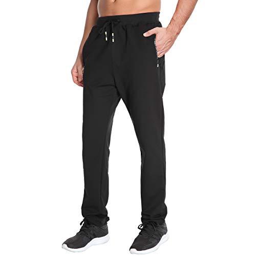 Tansozer Jogginghose Herren Ohne Bündchen mit reißverschluss Taschen Freizeit Baumwolle(Black L)