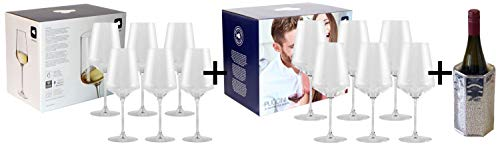 AKTIONS-Paket 2er Pack inkl. Marken-Weinkühler! 6X Leonardo Weinglas PUCCINI Weißwein + 6X Leonardo Weinglas PUCCINI Rotwein