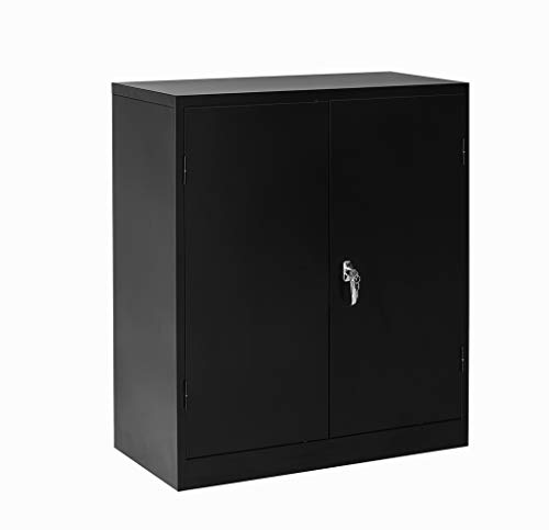 Steel Storage Cabinet Lockable Metal Storage Cabinets with 2 Adjustable Shelves Counter Height Cabinet Jumbo Storage Cabinet for Office or Home (Black)