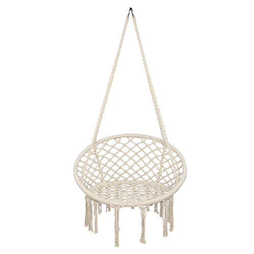Hammock Chairs For Garden,Children's Hanging Chair For Bedroom,Swing Chair For Adults Indoor,Cotton Weave,Holds Up To 120 Kg-150kg,for Outdoor, Yard,Balcony,Beige