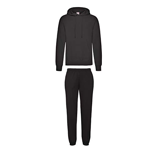2er-Set Fruit of the Loom Hausanzug Sportanzug Jogginghose & Kapuzensweatshirt (M, Schwarz)