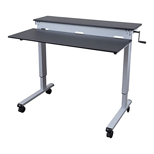 Stand Up Desk Store Crank Adjustable Two Tier Standing Desk with Heavy Duty Steel Frame (Silver Frame/Black Top, 48 Wide)
