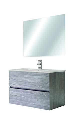 Juego de Mueble de Baño Modelo RIVIERA, Formado por Mueble de Baño Lacado Color Ceniza, Medidas (80x45x60), Encimera y Espejo. Compacto no precisa montaje, Cajón con Freno y Cierre Amortiguado