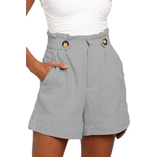 Pantaloni Corti Larghi Larghi a Vita Alta in Tinta Unita da Donna Pantaloni Corti Estivi Casual Moda con Bottoni con Tasche 3X-Large