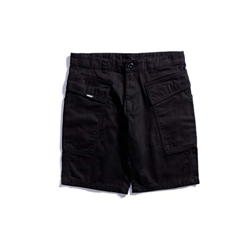 GCX- Shorts Mannen Zomer Thin shorts Hippe Shorts Loose Multi Pocket Pants Shorts Vrije tijd (Color : Black, Size : L)