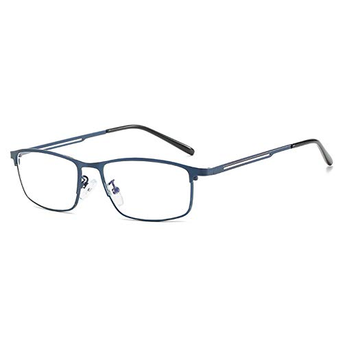 VEVESMUNDO Lesebrille Anti Blaulichtfilter Klassische Rechteckig Metall Computerbrille Lesehilfe Brille Sehhilfe mit Sehstärke für Herren Damen Bildschirm (1 Stück Blau, 2.0)