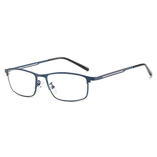 VEVESMUNDO Lesebrille Anti Blaulichtfilter Klassische Rechteckig Metall Computerbrille Lesehilfe Brille Sehhilfe mit Sehstärke für Herren Damen Bildschirm (1 Stück Blau, 2.5)
