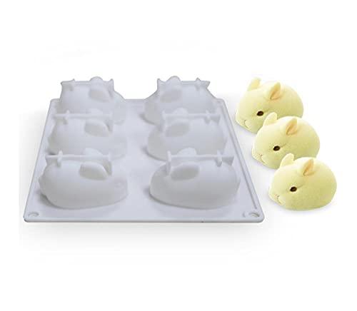 Cubitera Hielo Grande 6 Cavidad Cerdo 3D Molde De Silicona Mousse Postre Pastel Decoración Herramientas Jelly Hornear Candy Chocolate Helado Molde-Conejo_3 Piezas