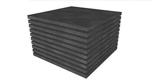 Schaumstoff Platten Set 10 Stück a 50x50x2cm Polyurethan gem.Öko Tex St.100 anthrazit RG 22SH 40