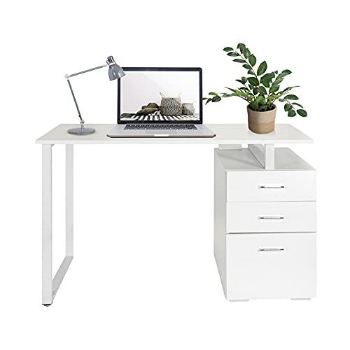 hjh OFFICE Easy Work V 821007 - Escritorio para ordenador (120 x 50 cm, con cajonera, fácil de limpiar), color blanco