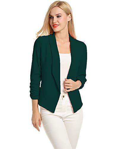 Casual Work Business Blazer for Women bleizer Sport Jacket (Dark Green, M)