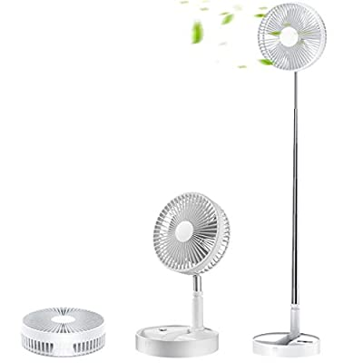 Portable Fan, 8'' Quiet Standing Fan with Remote Control, Foldable 7200mAh Battery 4 Speeds Rechargeable Adjustable Height, Used as Kickstand, for Outdoor Camping Home Office Desk White by