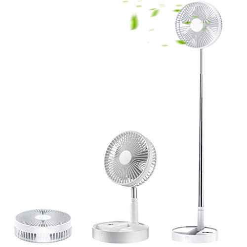 Portable Fan, 8'' Quiet Standing Fan with Remote Control, Foldable 7200mAh Battery 4 Speeds Rechargeable Adjustable Height, Used as Kickstand, for Outdoor Camping Home Office Desk White