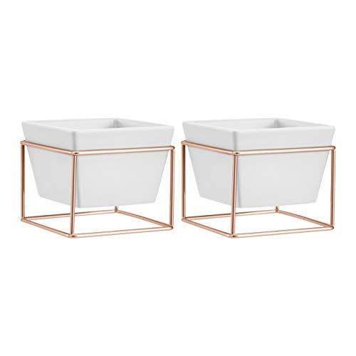 AmazonBasics - Macetero de mesa, cuadrado, blanco/cobre, 2 unidades