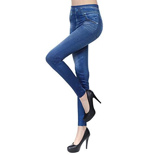 Leggings Imitation Jean Femme Jeggings Taille Haute Ceinture Elastiquée Pantalon Moulant Femme Long Collant Slim Extensible Pantalon de Crayon sans couture (Bleu, L/XL)