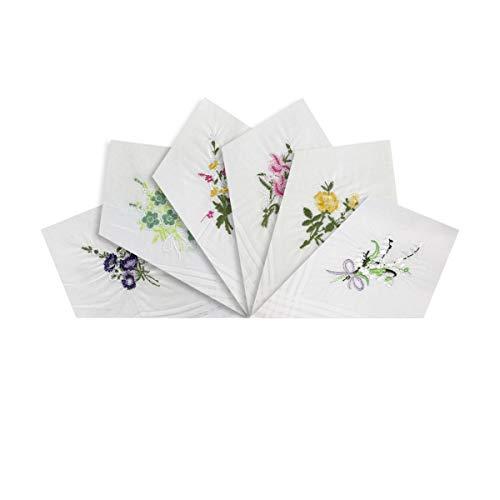 Warwick & Vance Damen-Taschentücher mit Satin-Streifenbordüre, 100% Baumwolle, 29 x 29 cm, Weiß, 6 Stück Gr. Einheitsgröße, weiß