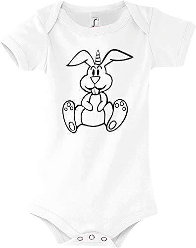 Shirtstown Body Bébé Drôle Animal Einhornhase, Licorne, Lapin - Blanc, 18-24 Monate
