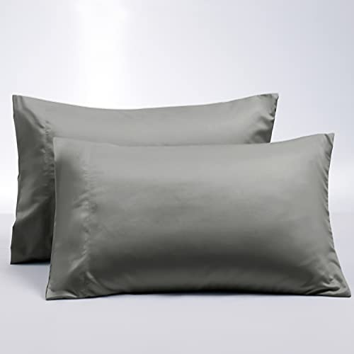 BEDELITE Upgraded Double-Sided Pillowcase for Hair and Skin, Dark Grey Pillow Case Standard Size Set of 2, Cooling Silky Lyocell & Soft Brushed Microfiber Pillow Cover with Envelope Closure(20x26)
