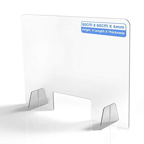 Schreibtisch Trennwand mit Durchreiche Schutzwand Transparent Acryl Tischaufsatz für Spuckschutz Hustenschutz Arbeitplatz in Nagelstudio Büro Schule Küche(L:80cm H:60cm B:4mm)