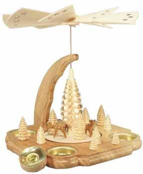Pyramide mit Rehe Teelicht und Kerze 25cm NEU Tischpyramide Erzgebirge Holz