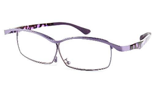 特殊眼鏡 1.6倍 高拡大率レンズシステム J-2400 拡大鏡 デミ柄 ピンク/パープル/ブラウン 日本光材 眼鏡ルーペ (パープル)