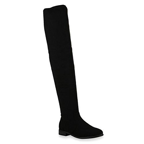 Damen Stiefel Overknees Veloursleder-Optik Winterstiefel Langschaftstiefel Metallic Blockabsatz Schuhe 122682 Schwarz 37 Flandell